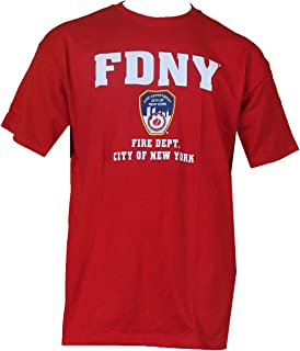 FDNY Short Sleeve White Fire Dept Logo and Shield T-Shirt Red