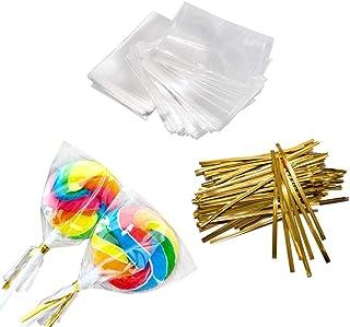 GOLD SILVER PINK PURPLE Candy Bag 125 300 500 Metallic Plastic Tie Twists 8cm