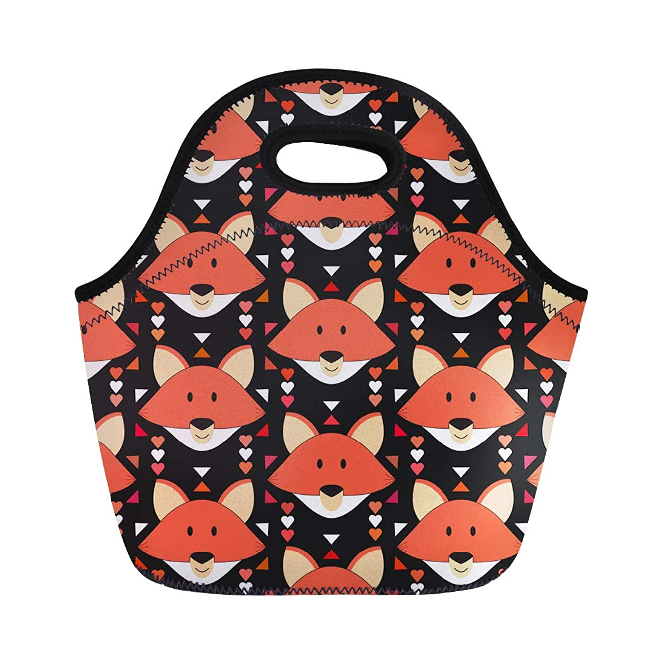 Semtomn Neoprene Lunch Tote Bag Cute Fox Forest Animals Orange Head in Abstract Tribal Reusable Cooler Bags Insulated Thermal Picnic Handbag for Travel,School,Outdoors, Work