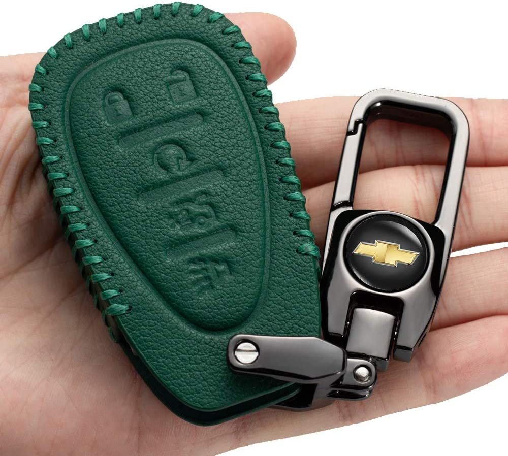 Car Key Case - Genuine Leather Keychain for Luxury Protector mart Chevr suit