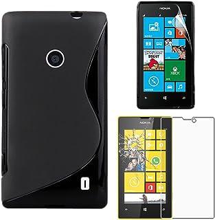 ebestStar – kompatibel med Nokia Lumia 520 fodral ultratunn S-line-fodral, mjuk flexibel silikongel, svart + härdat glas s...