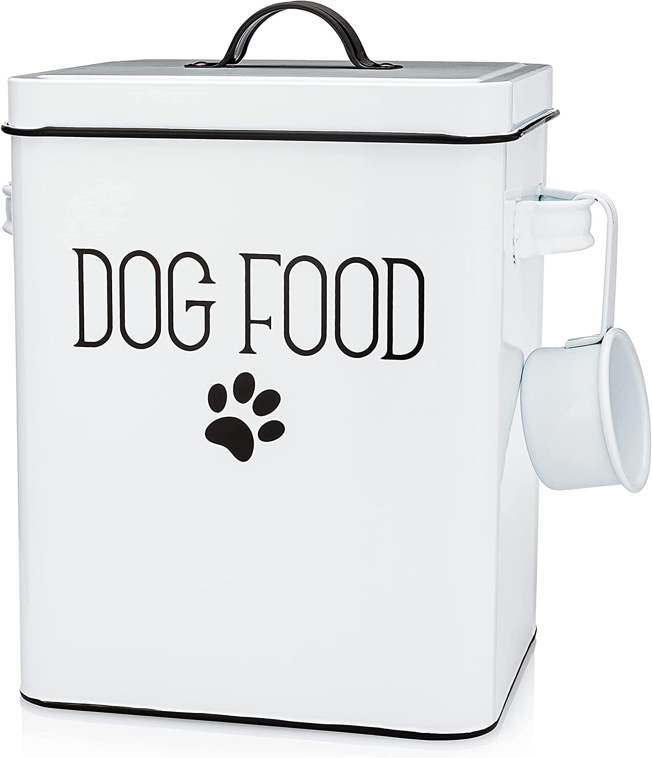 White Dog Food Storage Container Plus Dog Food Scoop - Farmhouse Dog Food Container - Durable Dog Food Storage - Dog Food Bin - Stylish Pet Food Storage Tin Canister - Pet Food and Treat Container