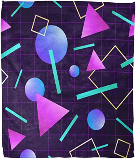 Amazon Com Golee Throw Blanket Vaporwave 80 Pattern Retro 1980s Geometric Neon Party Miami 60x80 Inches Warm Fuzzy Soft Blanket For Bed Sofa Home Kitchen
