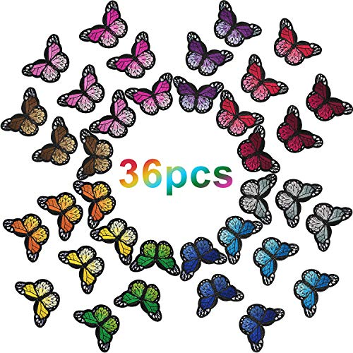 Butterfly Iron on Patches Butterfly Embroidery Applique Patches for Arts Crafts or DIY Decoration T-Shirt Jacket Shoes Bags Repair Patch (Large, 36 Pieces)
