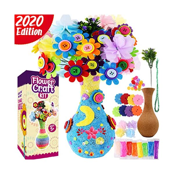Cheffun Crafts for Girls Arts Kids Arts – Art and Craft Kit Flower Vase Colorful Button Felt Toy DIY – Make Your Own Buttons Flower Bouquet Craft for Boys Age 4 5 6 7 8 9 10 Years Old Decoration