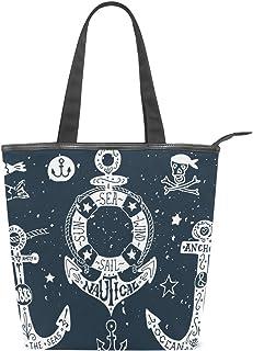 ISAOA Große Einkaufstasche aus Segeltuch, Vintage-Anker, Marineblau, Handtasche für Mädchen und Frauen