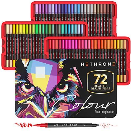 Hethrone Feutres Pinceaux 72 Stylos à Colorier Double Pinceau Stylos d'art Pour Adultes et Enfants Livres à Colorier Dessin