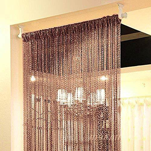 Topixdeals Rare Flat Silver Ribbon Door String Curtain Thread Fringe Window Panel Room Divider Cute Strip Tassel Party Events (1 Pack, Dark-Brown)