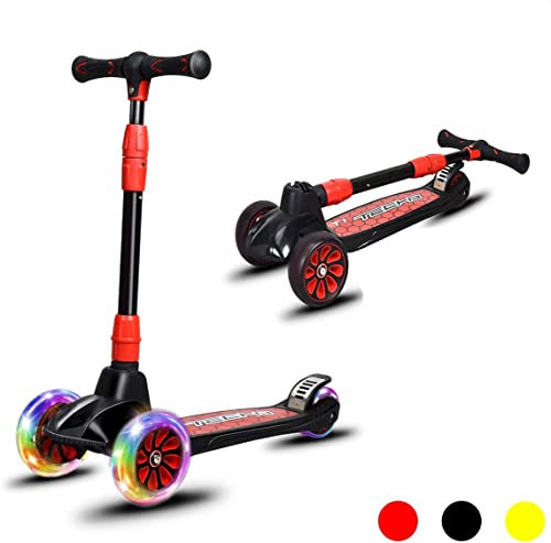 wholesale Goplus Kids Kick wholesale Scooter, Folding Scooter with 3 LED Light Up Wheels, Adjustable Height Handlebar, Brake, Toddlers Scooter for 4 to 13 Years Old Kids, online sale Lean to Steer Scooter for Boys and Girls online sale