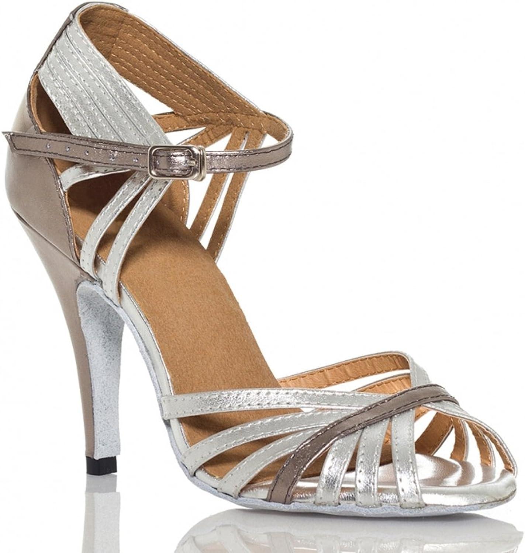 Yiteli Women's Latin Ballroom Dance shoes Salsa Tango Open-Toe Sandals US5-11 Silver