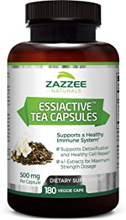 Zazzee Essiac Tea, 180 Veggie Capsules, 500 mg per Capsule, Potent 4:1 Extract, Vegan, Non-GMO and All-Natu...