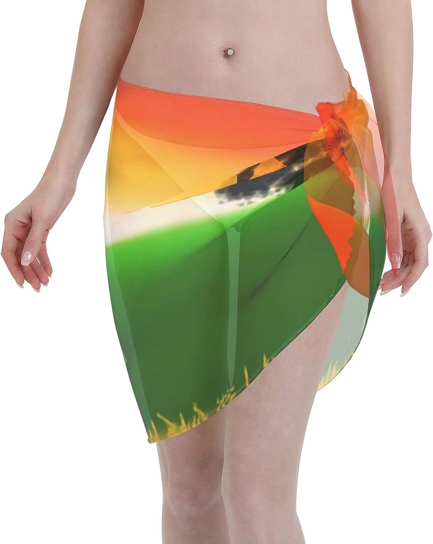 Abstract Tree in A Field at Dawn Women Short Beach Sarongs Sheer Cover Ups Chiffon Scarf Bikini Wrap Skirt for Swimwear Black