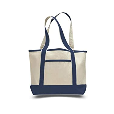 """18"""", Heavy Duty Deluxe Teachers Tote Bag with Zippered Pocket, Small Size 18"""", Cotton Canvas Bag For Shopping, Travelling OR Groceries (Royal, 1pc 18-1/2""""W x 12""""H x 5-1/2""""D)"""