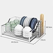 Kitchen Storage Rack Single-Layer Dish | 304 Stainless Steel with Cutlery Basket for Kitchen, Storage