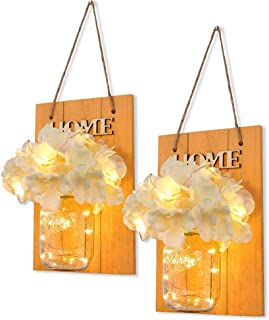 Mason Jar Sconces Rustic Floral Wall Décor with LED Fairy Lights, Vintage Wrought Iron Hooks Silk Hydrangea Flowers,Yellow