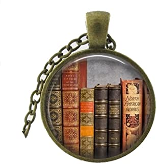 Library Book Necklace, Librarian Pendant, Bibliophile,...