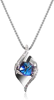 Richapex Love Guardian Blue/Pink Heart Pendant Necklace Crystals from Swarovski,Gift for Women Birthday for Mom Present to Mother
