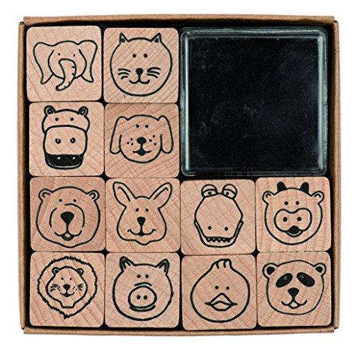 Rico Design Paper Poetry Stempelset Tiergesichter - Holzstempel mit Stempelkissen zum Basteln für Kinder - 8 Motive - Stempel aus Holz DIY