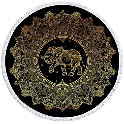 YanHui-LZC Playa Toalla de Playa Redonda Boho Elefante Toalla de Elefante con Tassel Floral Mat de Yoga Lotus Toalla Manta 150 cm para niños, Mujeres, Hombres, niño, niña (Color : L)