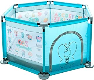 XHJYWL Playpen Toddlers Indoor Portable Baby Security Fence with Mat Outdoor Washable Kids Safety Activity Centre Panel  Blue