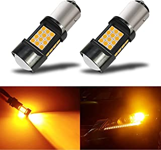 iBrightstar Newest Extremely Bright 36-SMD 3030 Chipsets 1157 2057 2357 7528 BAY15D LED Bulbs with Projector Lens replacement for Turn Signal Lights,Amber Yellow