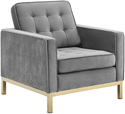 Modway Loft Tufted Button Performance Velvet Upholstered Accent Lounge Arm Chair in Gold Gray