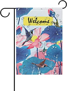 I·D Good Figure Hummingbird-Lotus Double Sided Garden Flag Outdoor Yard Decor Welcome House Flag Banners for Home
