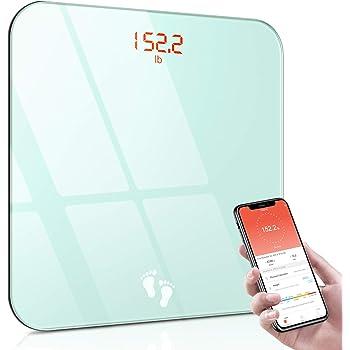 Cocoda Pèse Personne Électronique, Balance Connectée Bluetooth Haute Précision, BMI Balance Pèse Personnes avec Smartphone App & Écran Rétroéclairé LED, Verre Trempé Robuste, 180kg/400lb, 2 Piles AAA