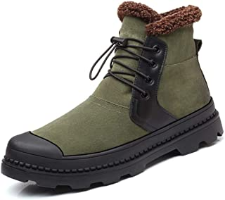 Xujw-shoes store, 2019 Mens New Lace-up Flats MensCombat Boots for Men Ankle Snow Boots Drawstring Leather Warm Fleece Inside Round Cap Toe Anti Slip (Height Increasing Optional) Comfortable Green