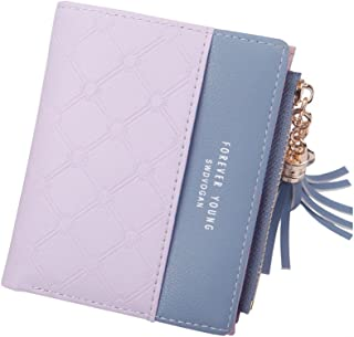 Small Fresh Leather Wallet Buckle Billfold Purse (Color : Purple)