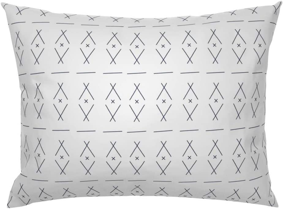Roostery Pillow Sham Hand Drawn Teepees Minimalist Black And White Tipi Crosses Geometric Mudcloth Teepee Simple Print 100 Cotton Sateen 26in X 26in Knife Edge Sham Home Kitchen
