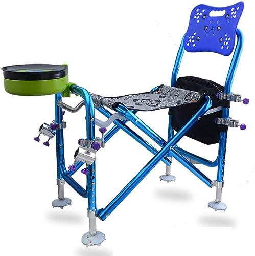 LZYZZZ Chaise de pêche Multifonctions Portable avec Chaise-piège, Bleu, 60X35X76CM