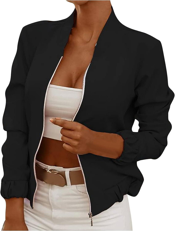 LADIGASU Women Casual Lightweight Floral Print Long Sleeve Zip Up Baseball Bomber Jacket Outwear