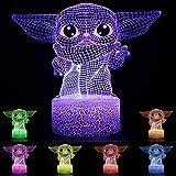 Baby Yoda Lámpara de mesa de ilusión 3D 7 colores Star Wars Luz nocturna...