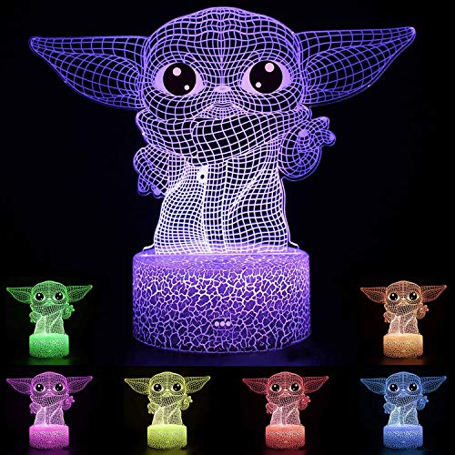 Baby Yoda Lámpara de mesa de ilusión 3D 7/16 colores Star Wars Luz nocturna Atmósfera de noche Luces para niños Regalos Decoración de dormitorio Blanco Base de lámpara 7 colores con mando a distancia