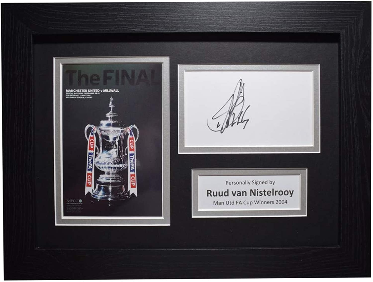Sportagraphs Ruud van Nistelrooy Signed A4 Framed Autograph Photo Display Man Utd FA Cup 2004