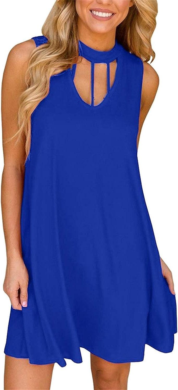Gemijack Womens Halter T Shirt Dresses Sleeveless Cut Out Summer Casual Swing Mini Short Dress