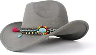HaiNing Zheng New 2019 Western Cowboy Hat Suitable For Cowgirl Rope Colorful Stone Cowboy Hat (size: 58 Cm, Adjustment Rope)