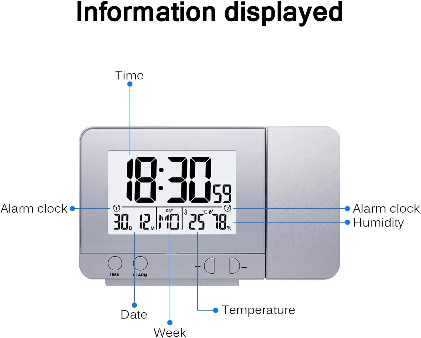 Orologio Digitale con Doppio Allarme umidit/à Temperatura Interna Data Funzione Snooze 12//24 Ore retroilluminazione Sveglia Digitale con Ampio Display LCD TTAototech Proiettori Orologi