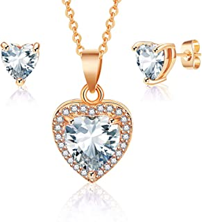 Austrian Crystal Halo Heart Pendant Necklace Earrings for Women 14K Gold Plated Hypoallergenic Jewelry Set