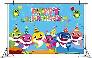 NANAO Baby Shark Family Photo Background Children Happy Birthday doo doo doo Party Photography Backdrops Blue Sea Cartoon ...