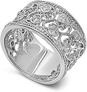 Sterling Silver Women's Clear CZ Vintage Ring Cute 925 Band New 12mm Sizes 6-10