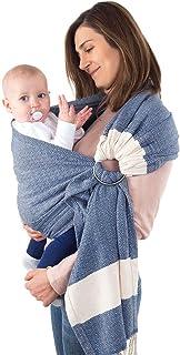 Fringe Home 100% Soft Cotton Ring Sling Baby Carrier, Best for Breastfeeding, Nursing, Newborn, Infant, Toddler Carrier, Baby Shower (Navy Blue)