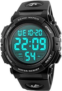 Men's Sports Watch Military Classic Stopwatch Large Dial Electronic LED Backlight Wristwatch 50M Waterproof Digital Watch ...