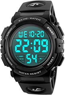 Men's Sports Watches Military Classic Stopwatch Large Dial Electronic LED Backlight Wristwatch 50M Waterproof Digital Watch for Mens with Large Number