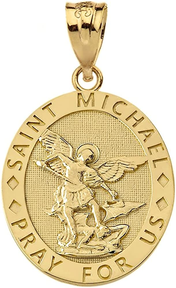 14k Gold Oval Engraved Archangel Saint Medal For Max 70% OFF Michael Pray Tulsa Mall Us