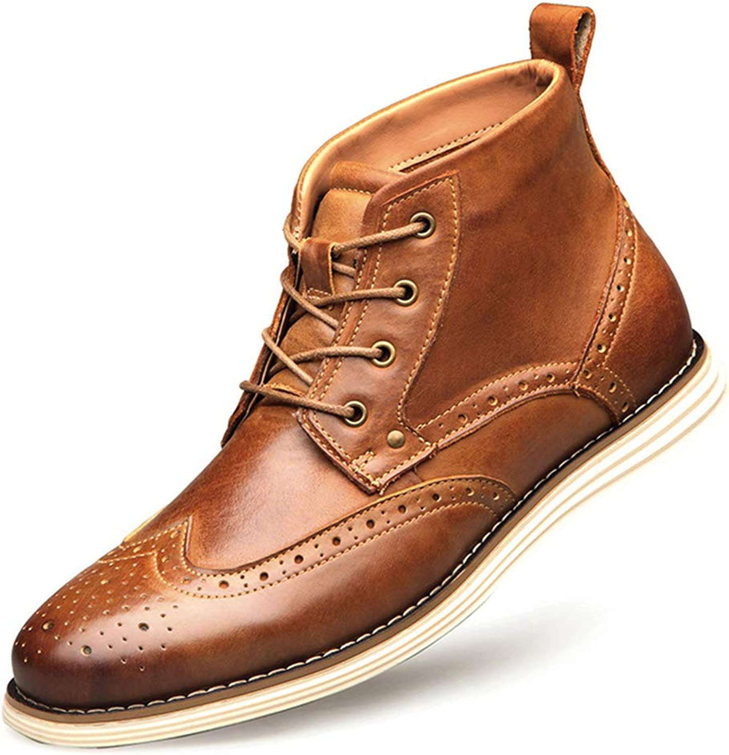 Mens Chelsea Ankle Boots Genuine Leather Brogue Carved Martin Boots for Hiking Work High Top Lace ups shoes Adult Chukka Boots