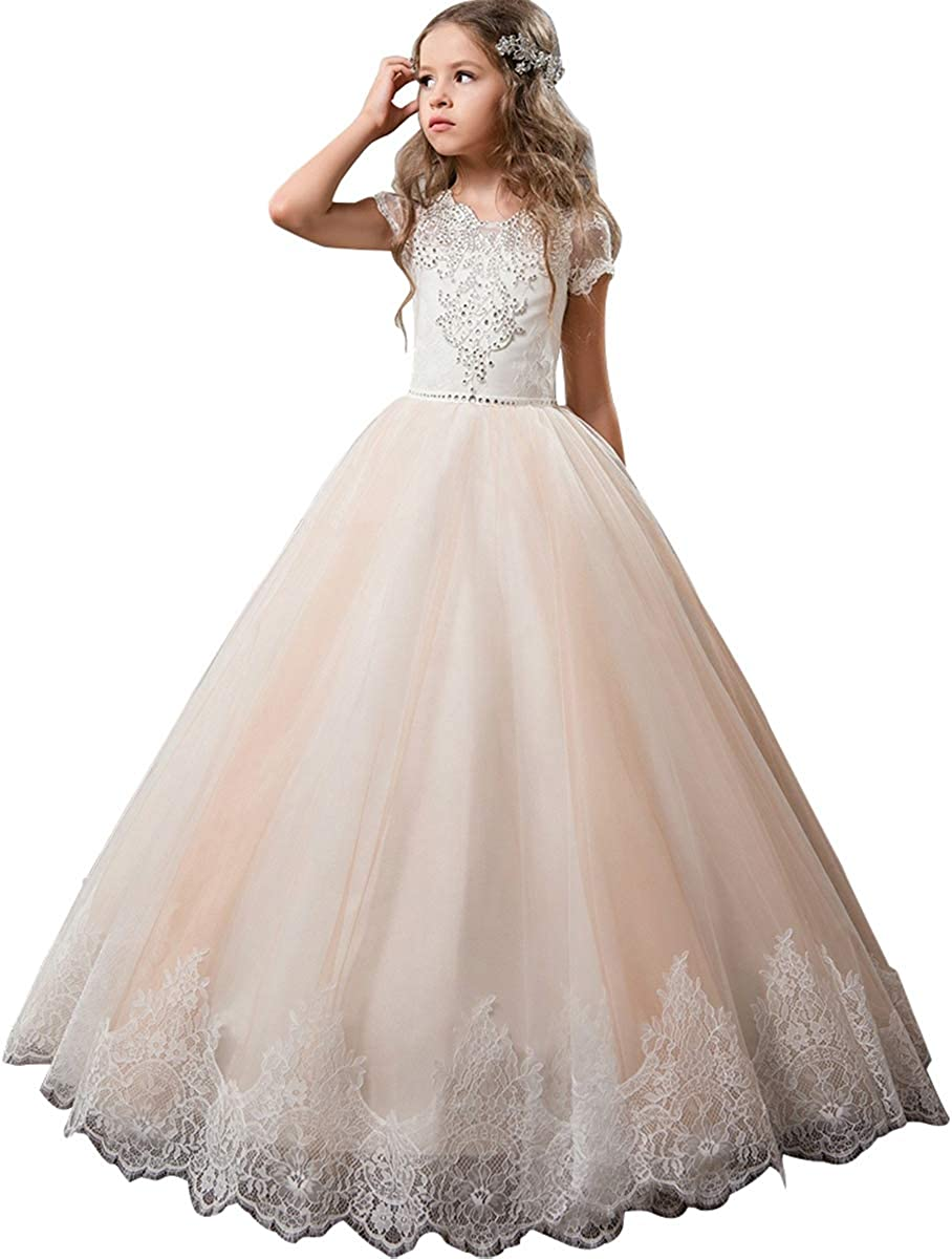 Flower Girl Dress Kids Lace Beaded Pageant Ball Gowns