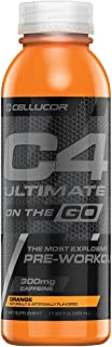 Cellucor C4 Ultimate On The Go Zero Sugar Pre Workout Drink, Energy Drink + Beta Alanine, Orange, 11.66 Ounce Bottles (Pack of 12)