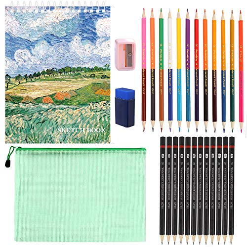 Juego de lápices, 28 Piezas Set de Lápices Lapices De Dibujo con lápices de colores de doble punta, lápices para dibujar, sacapuntas, cuaderno de bocetos y bolsa de transporte (28)
